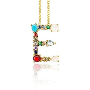 Her Shop accessories E / 45CM Gold Color Initial Multi-color Necklace For Women Accessories Girlfriend Gift