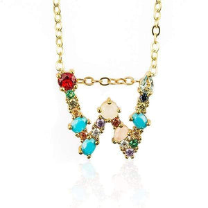 Her Shop accessories W / 45CM Gold Color Initial Multi-color Necklace For Women Accessories Girlfriend Gift