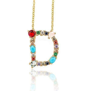 Her Shop accessories D / 45CM Gold Color Initial Multi-color Necklace For Women Accessories Girlfriend Gift
