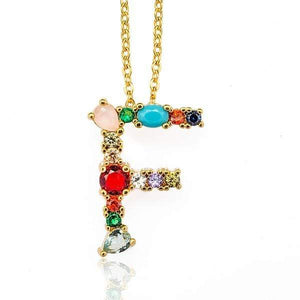 Her Shop accessories F / 45CM Gold Color Initial Multi-color Necklace For Women Accessories Girlfriend Gift