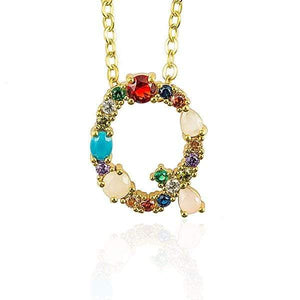 Her Shop accessories Q / 45CM Gold Color Initial Multi-color Necklace For Women Accessories Girlfriend Gift