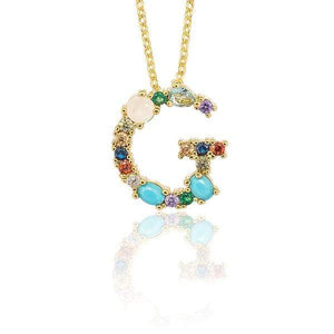 Her Shop accessories G / 45CM Gold Color Initial Multi-color Necklace For Women Accessories Girlfriend Gift