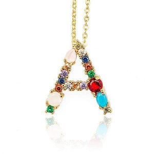 Her Shop accessories A / 45CM Gold Color Initial Multi-color Necklace For Women Accessories Girlfriend Gift