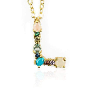 Her Shop accessories L / 45CM Gold Color Initial Multi-color Necklace For Women Accessories Girlfriend Gift