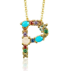 Her Shop accessories P / 45CM Gold Color Initial Multi-color Necklace For Women Accessories Girlfriend Gift