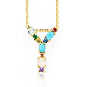 Her Shop accessories Y / 45CM Gold Color Initial Multi-color Necklace For Women Accessories Girlfriend Gift