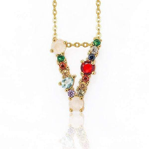 Her Shop accessories V / 45CM Gold Color Initial Multi-color Necklace For Women Accessories Girlfriend Gift