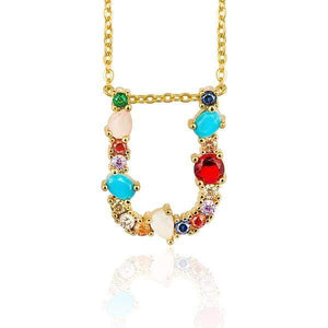 Her Shop accessories U / 45CM Gold Color Initial Multi-color Necklace For Women Accessories Girlfriend Gift