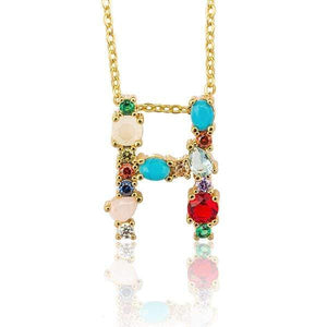 Her Shop accessories H / 45CM Gold Color Initial Multi-color Necklace For Women Accessories Girlfriend Gift
