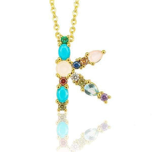 Her Shop accessories K / 45CM Gold Color Initial Multi-color Necklace For Women Accessories Girlfriend Gift