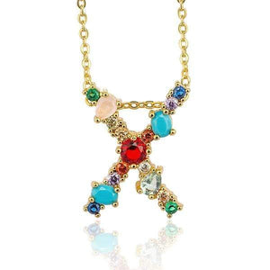 Her Shop accessories X / 45CM Gold Color Initial Multi-color Necklace For Women Accessories Girlfriend Gift