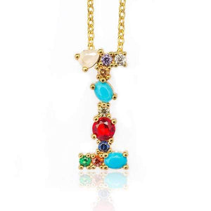 Her Shop accessories I / 45CM Gold Color Initial Multi-color Necklace For Women Accessories Girlfriend Gift
