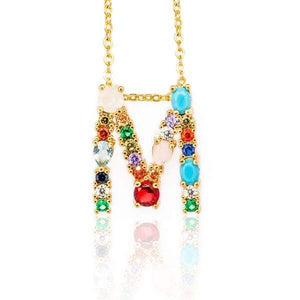 Her Shop accessories M / 45CM Gold Color Initial Multi-color Necklace For Women Accessories Girlfriend Gift