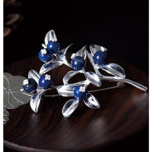 Her Shop accessories Handmade 100% Real 925 Sterling Silver Blueberry Brooches