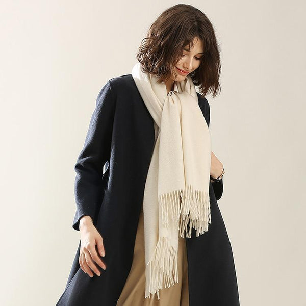 Her Shop accessories Hot Sale All-Match Men Women Solid Color Luxurious Elegant Cashmere Scarves With Tassel