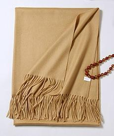 Her Shop accessories Gold camel color Hot Sale All-Match Men Women Solid Color Luxurious Elegant Cashmere Scarves With Tassel