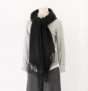 Her Shop accessories Black Hot Sale All-Match Men Women Solid Color Luxurious Elegant Cashmere Scarves With Tassel