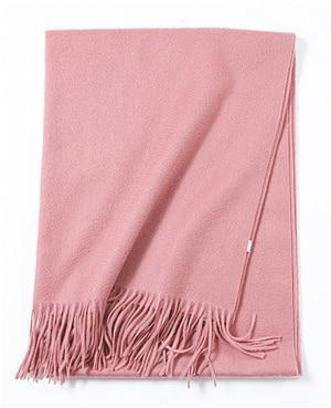 Her Shop accessories Pink Hot Sale All-Match Men Women Solid Color Luxurious Elegant Cashmere Scarves With Tassel