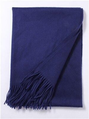 Her Shop accessories Navy blue Hot Sale All-Match Men Women Solid Color Luxurious Elegant Cashmere Scarves With Tassel