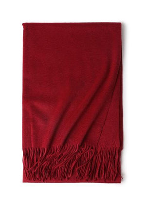 Her Shop accessories Dark red Hot Sale All-Match Men Women Solid Color Luxurious Elegant Cashmere Scarves With Tassel