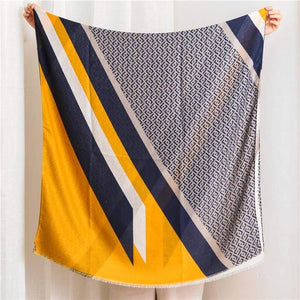 Her Shop accessories Ladies New Fashion Geometric Patchwork Fringe Viscose Shawl
