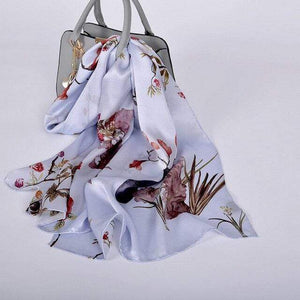 Her Shop accessories light grey CZP1809 Luxury 100% Pure Silk Scarf 175*52cm