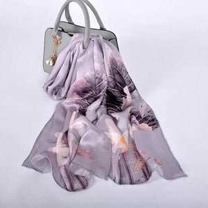 Her Shop accessories grey lotus CZP1814 Luxury 100% Pure Silk Scarf 175*52cm