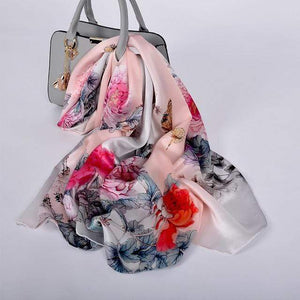 Her Shop accessories pink peony CZP1810 Luxury 100% Pure Silk Scarf 175*52cm