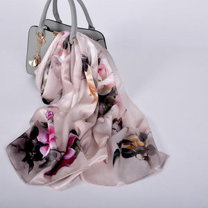 Her Shop accessories grey pink CZP1812 Luxury 100% Pure Silk Scarf 175*52cm