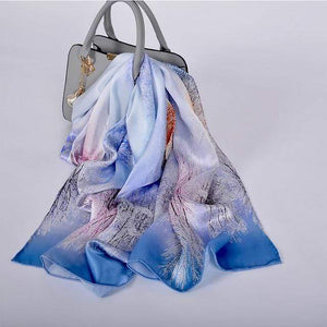 Her Shop accessories blue white CZP1807 Luxury 100% Pure Silk Scarf 175*52cm