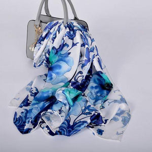 Her Shop accessories blue white CZP1816 Luxury 100% Pure Silk Scarf 175*52cm