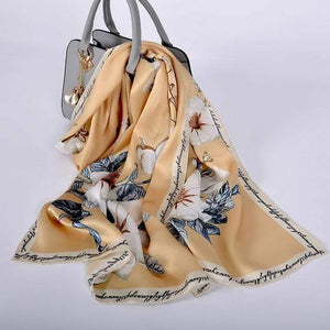 Her Shop accessories khaki CZP1801 Luxury 100% Pure Silk Scarf 175*52cm