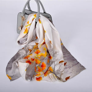 Her Shop accessories beig yellow CZP1817 Luxury 100% Pure Silk Scarf 175*52cm