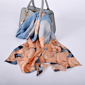 Her Shop accessories grey blue CZP1805 Luxury 100% Pure Silk Scarf 175*52cm