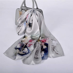 Her Shop accessories grey lotus CZP1808 Luxury 100% Pure Silk Scarf 175*52cm