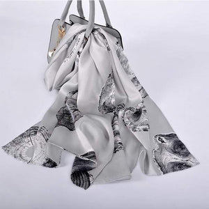 Her Shop accessories silver grey CZP1804 Luxury 100% Pure Silk Scarf 175*52cm