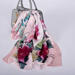Her Shop accessories pink peony CZP1815 Luxury 100% Pure Silk Scarf 175*52cm