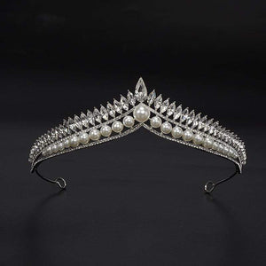 Her Shop accessories Luxury Pearl Princess Queen Pageant Prom Rhinestone Veil Tiara Party Wedding Crown