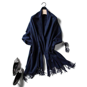 Her Shop accessories navy Luxury Pure Wool Winter Scarf & Shawl