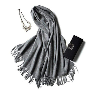 Her Shop accessories grey Luxury Pure Wool Winter Scarf & Shawl