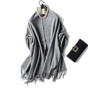 Her Shop accessories drek grey Luxury Pure Wool Winter Scarf & Shawl
