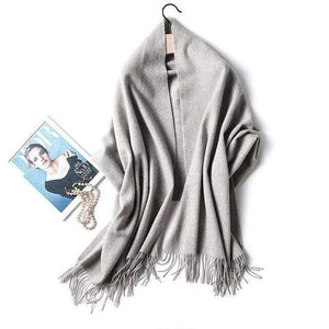 Her Shop accessories light grey Luxury Pure Wool Winter Scarf & Shawl