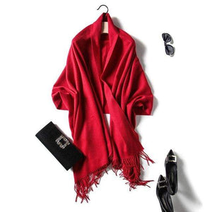 Her Shop accessories red Luxury Pure Wool Winter Scarf & Shawl