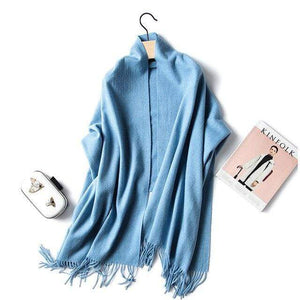 Her Shop accessories light blue Luxury Pure Wool Winter Scarf & Shawl
