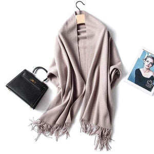 Her Shop accessories Khaki Luxury Pure Wool Winter Scarf & Shawl