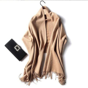 Her Shop accessories camle Luxury Pure Wool Winter Scarf & Shawl