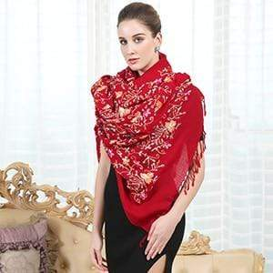 Her Shop accessories Red Luxury  Women's Elegant Wool  Scarves
