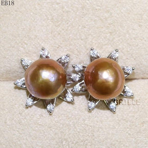 Her Shop accessories EB 18 / 9-10mm Natural Color Freshwater Pearl Fashion Jewelry 9-10mm Edison Pearl Earrings