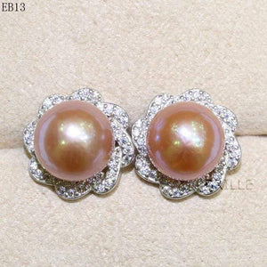 Her Shop accessories EB 13 / 9-10mm Natural Color Freshwater Pearl Fashion Jewelry 9-10mm Edison Pearl Earrings