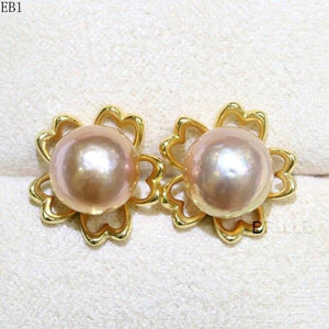 Her Shop accessories EB 1 / 9-10mm Natural Color Freshwater Pearl Fashion Jewelry 9-10mm Edison Pearl Earrings